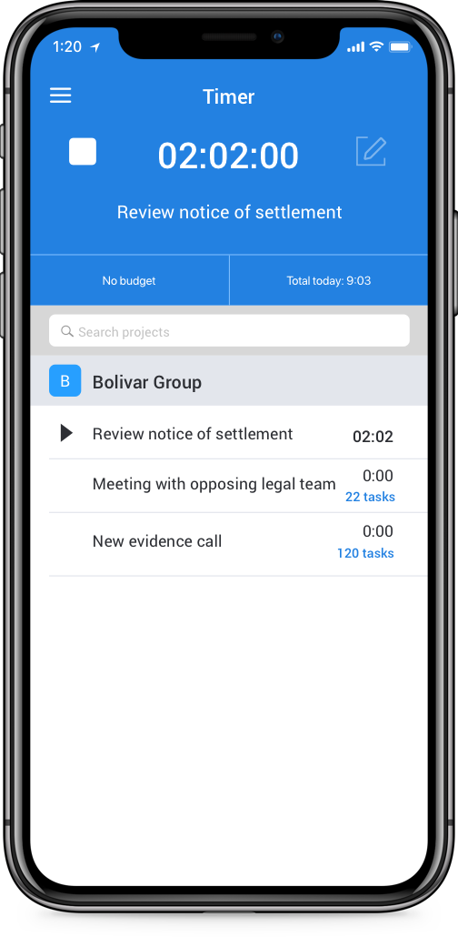 your team of lawyers can track time from any device