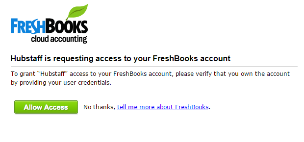 Hubstaff and FreshBooks oauth