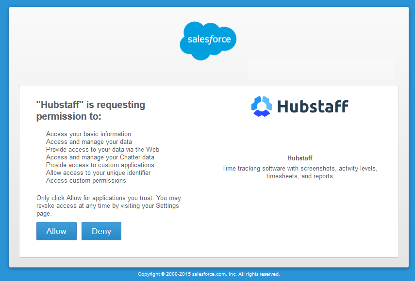 Hubstaff and salesforce oAuth