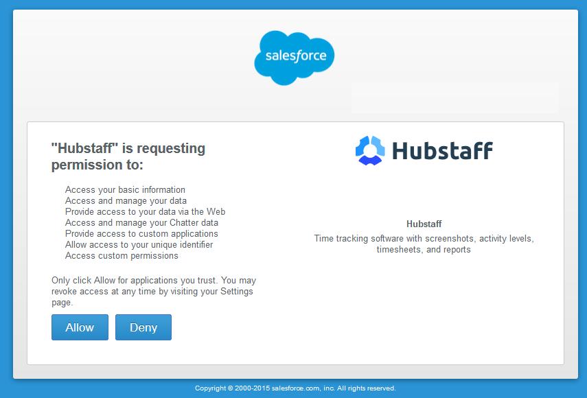 Hubstaff and salesforce oAuth