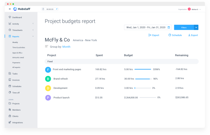 project budget report teamwork