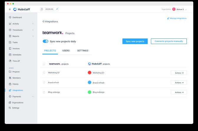 how to set up Hubstaff Teamwork integration