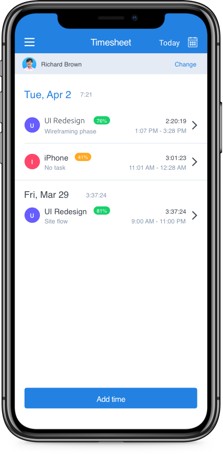 iPhone timesheet app